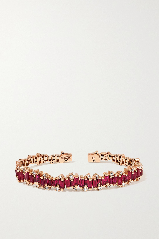 Suzanne Kalan Armspange aus 18 Karat Roségold mit Rubinen und Diamanten