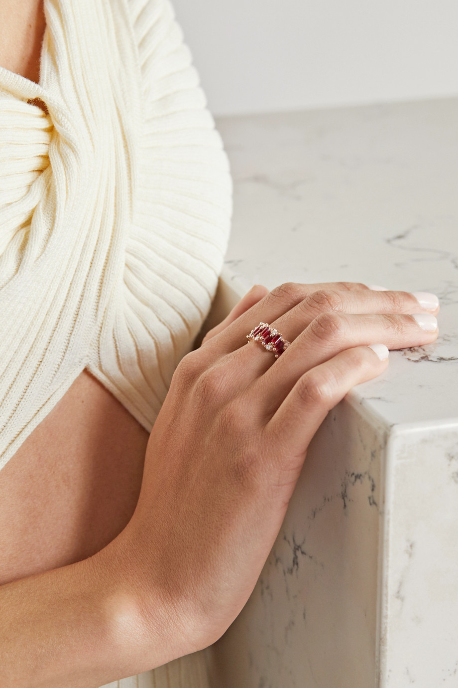 Suzanne Kalan Bague en or rose 18 carats, rubis et diamants Audrey
