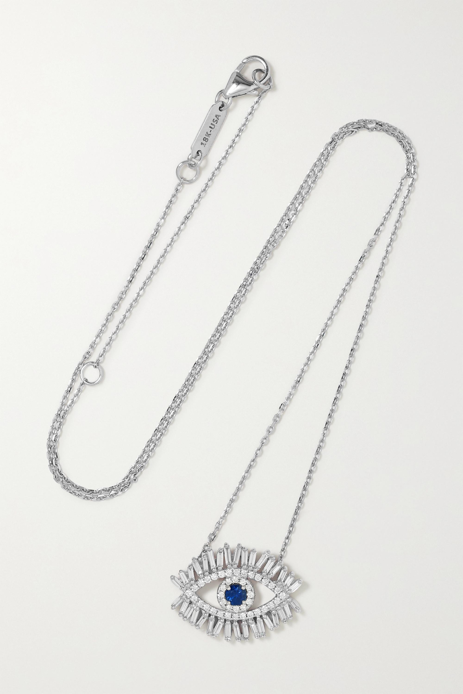 Suzanne Kalan - 18-karat white gold, diamond and sapphire necklace