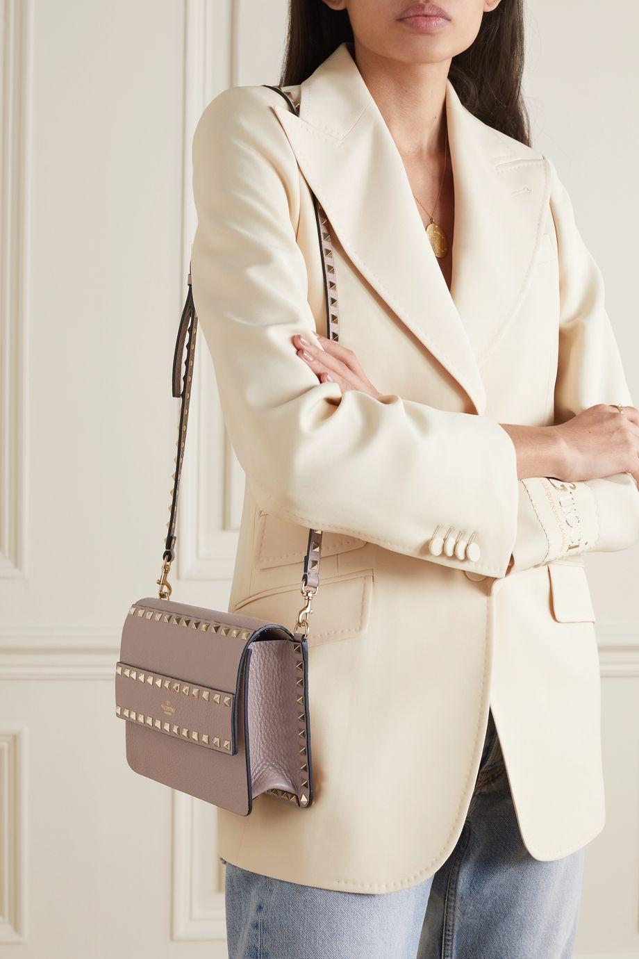 Valentino Sac porté épaule en cuir texturé Rockstud Valentino Garavani