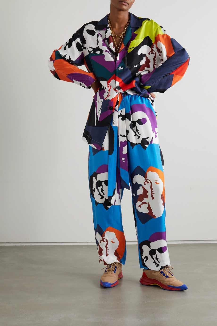 AZ Factory Pijama The Kiss printed silk-twill wide-leg pants