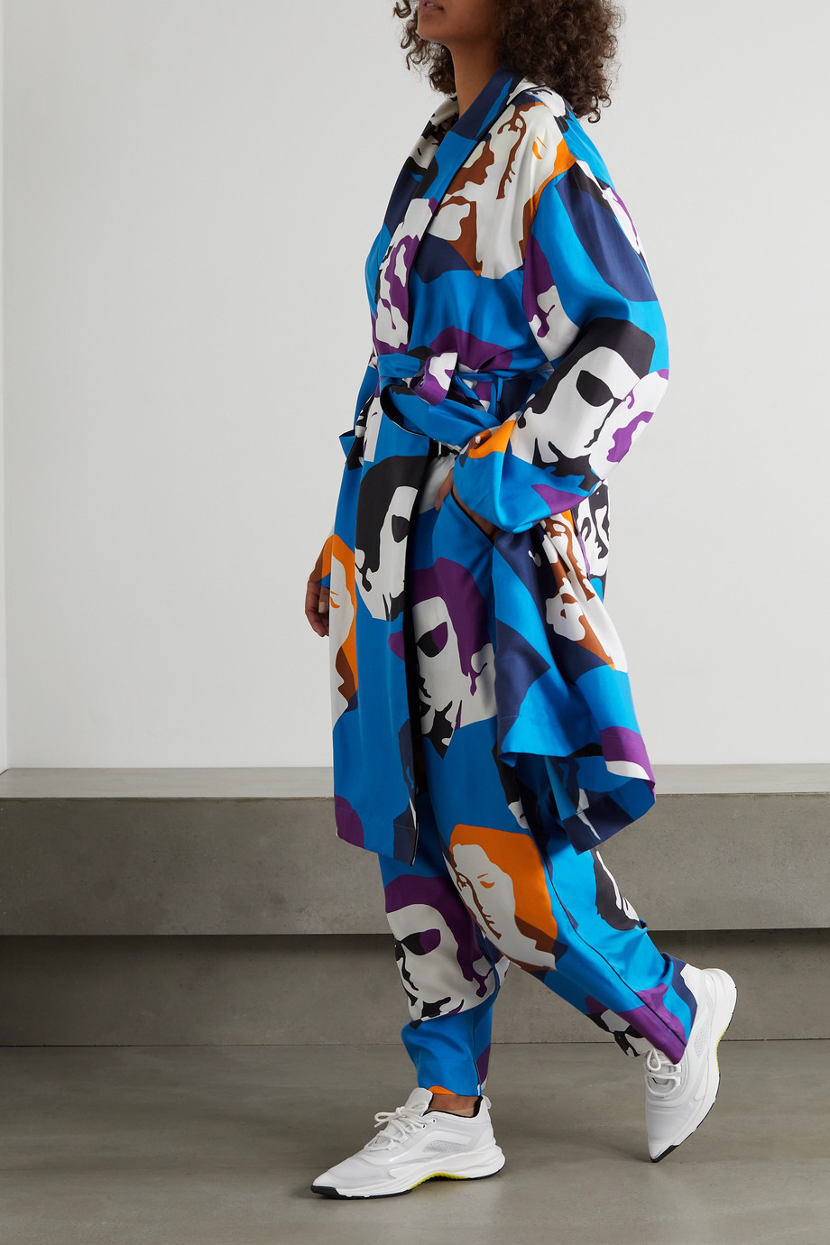 AZ Factory Pijama The Kiss belted printed silk-twill robe