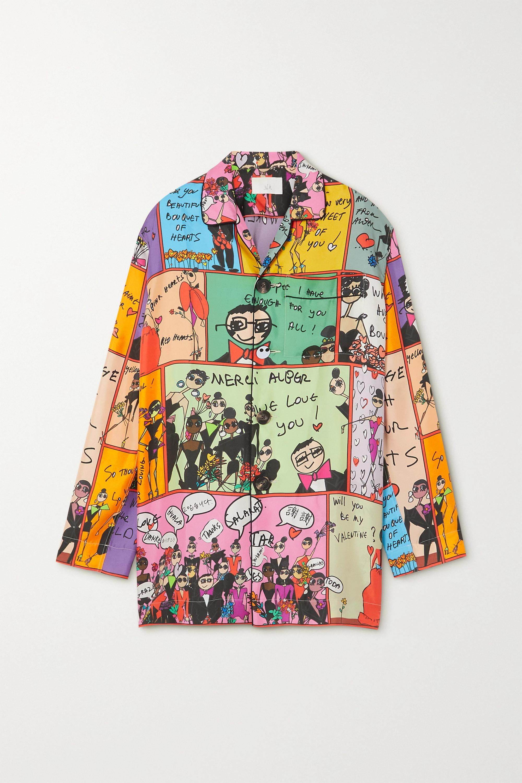 AZ Factory Pijama Valentine printed silk-twill shirt