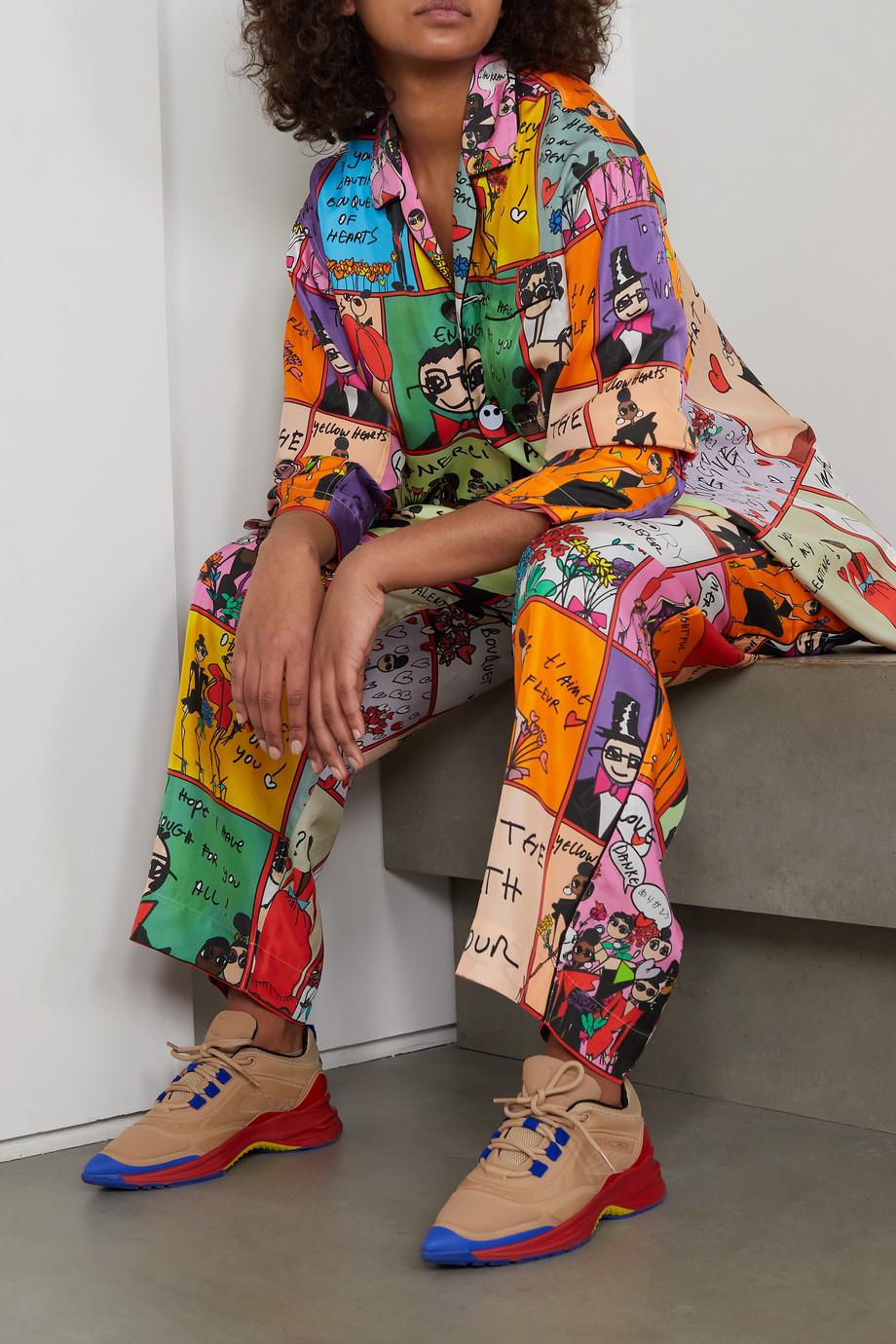 AZ Factory Pijama Valentine printed silk-twill wide-leg pants