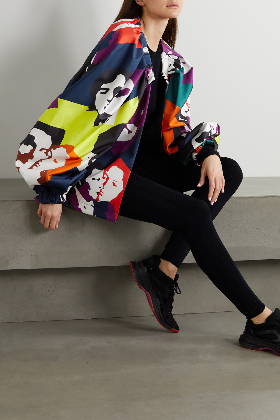 AZ Factory The Kiss oversized printed recycled duchesse-satin jacket