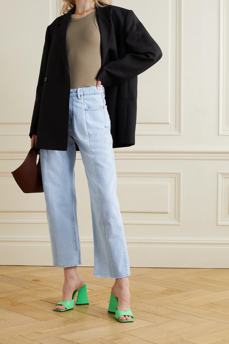 E.L.V. Denim + NET SUSTAIN The Twin frayed two-tone high-rise boyfriend jeans