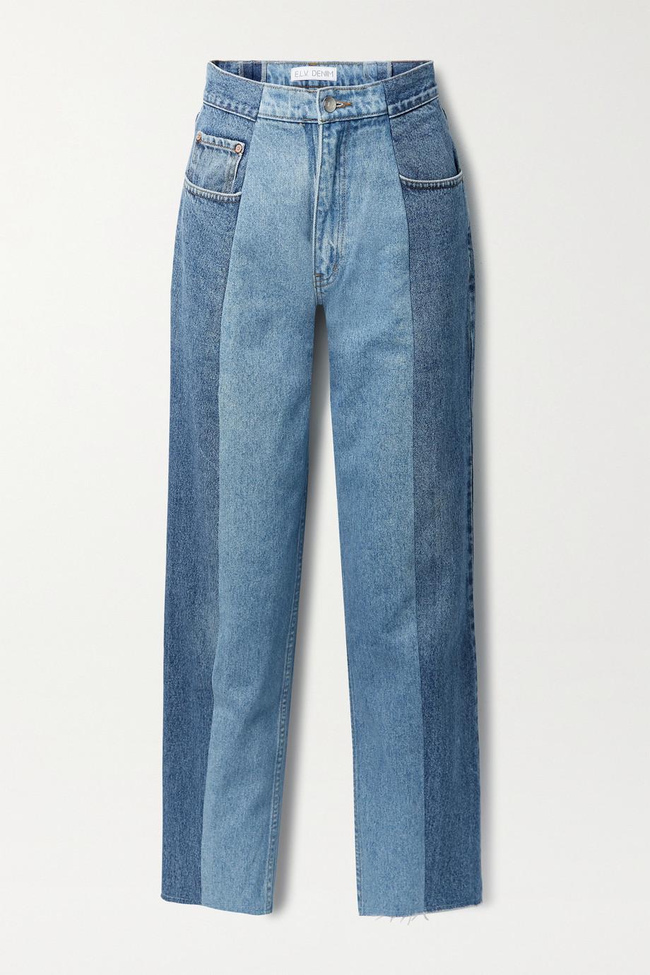 E.L.V. Denim + NET SUSTAIN The Twin frayed two-tone boyfriend jeans