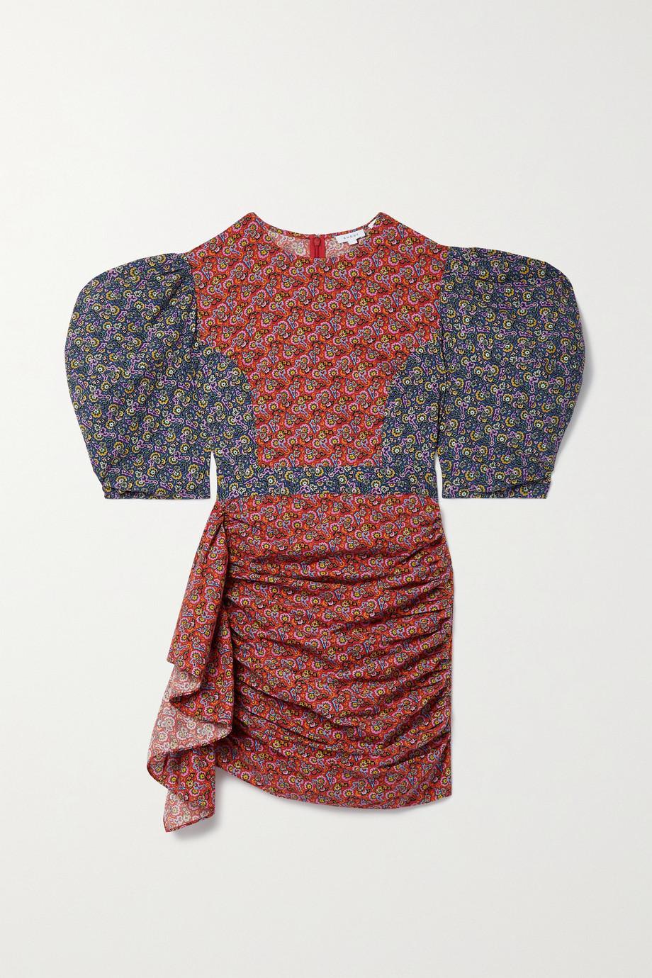 Rhode Pia Minikleid aus Baumwolle mit Blumenprint in Patchwork-Optik und Drapierung