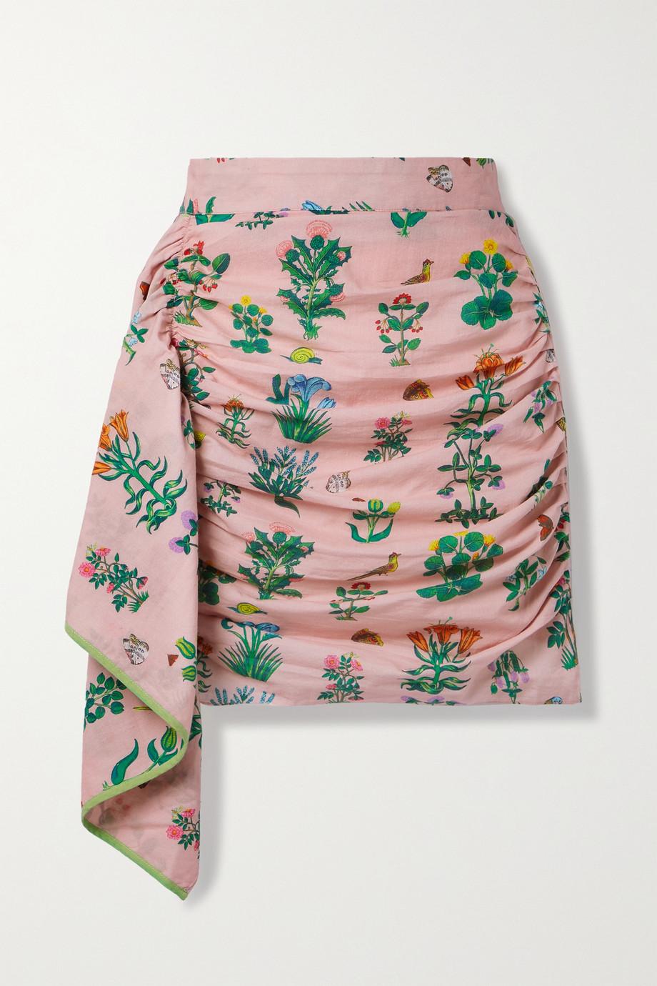 Rhode Mini-jupe en coton imprimé à fronces et à drapés Hannah
