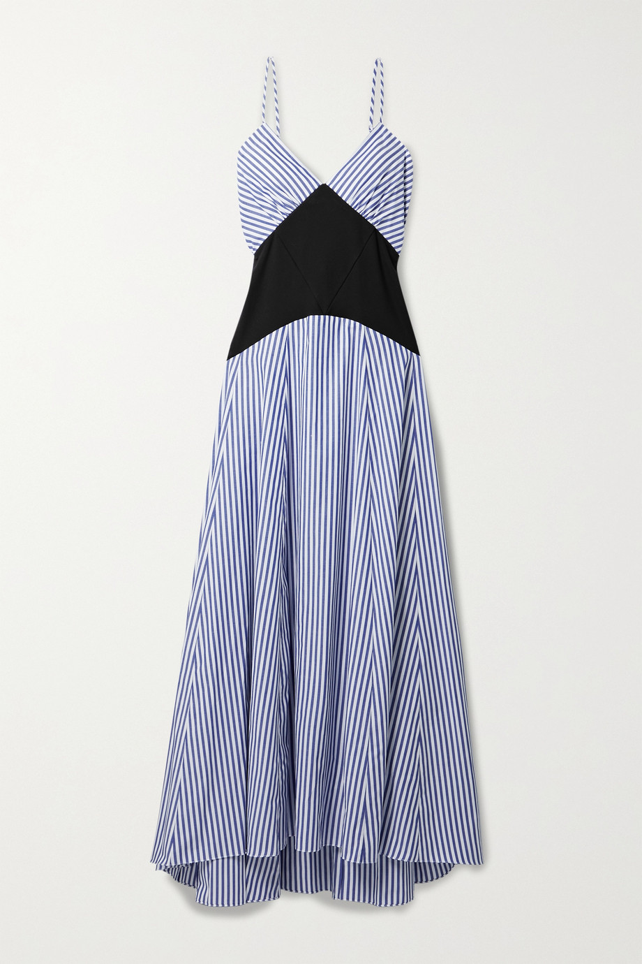 Rosie Assoulin Paneled striped cotton-blend voile and ribbed jersey maxi dress