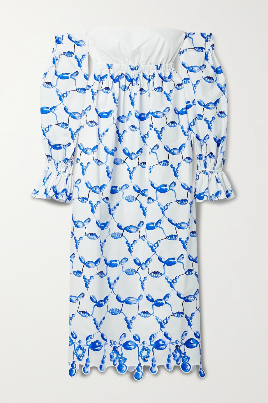 Rosie Assoulin Off-the-shoulder scalloped printed cotton-poplin midi dress