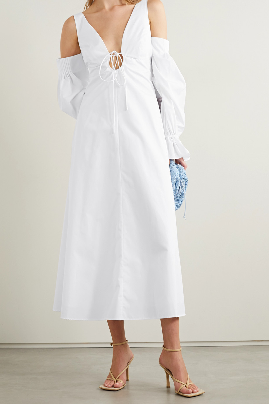 Rosie Assoulin Convertible cold-shoulder cotton-poplin midi dress