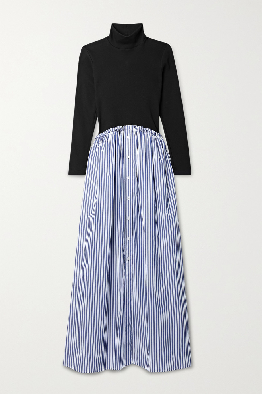 Rosie Assoulin Striped cotton-blend voile and ribbed jersey maxi dress