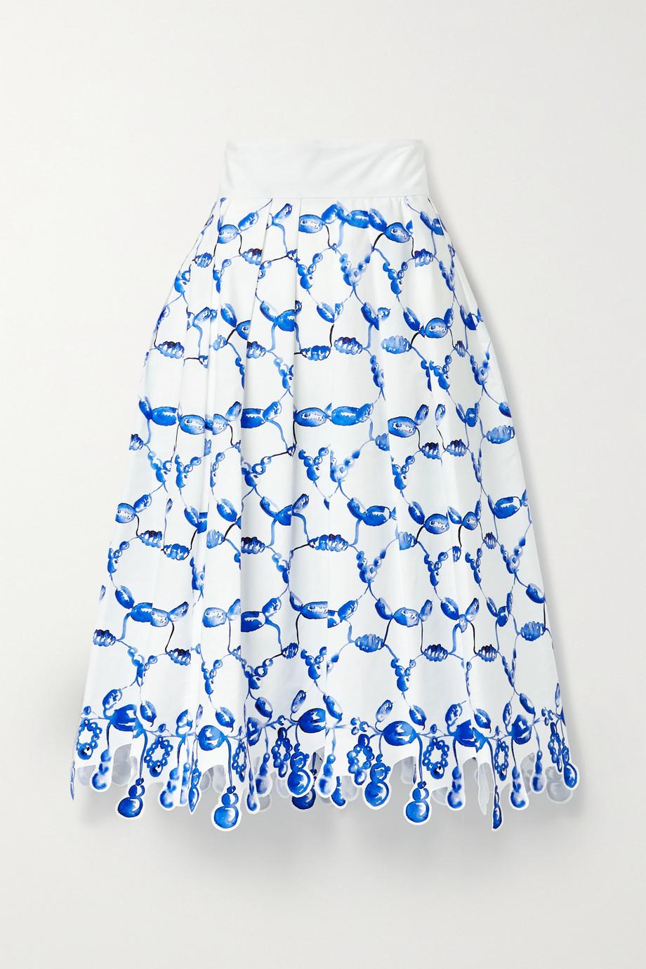 Rosie Assoulin Jupe midi en popeline de coton imprimée à plis et à festons