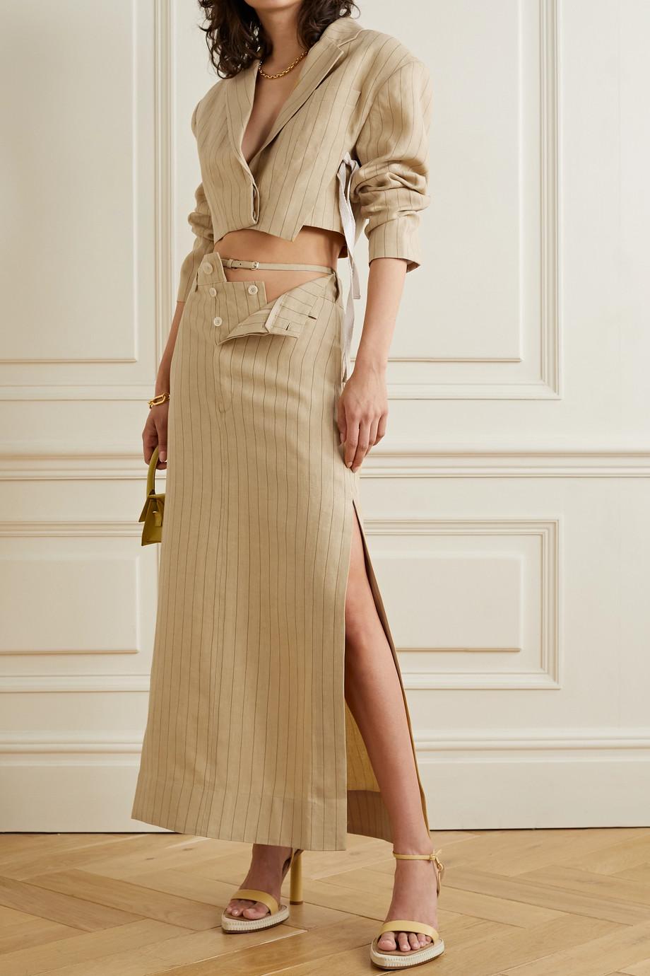 Jacquemus Terraio cutout pinstriped linen maxi skirt