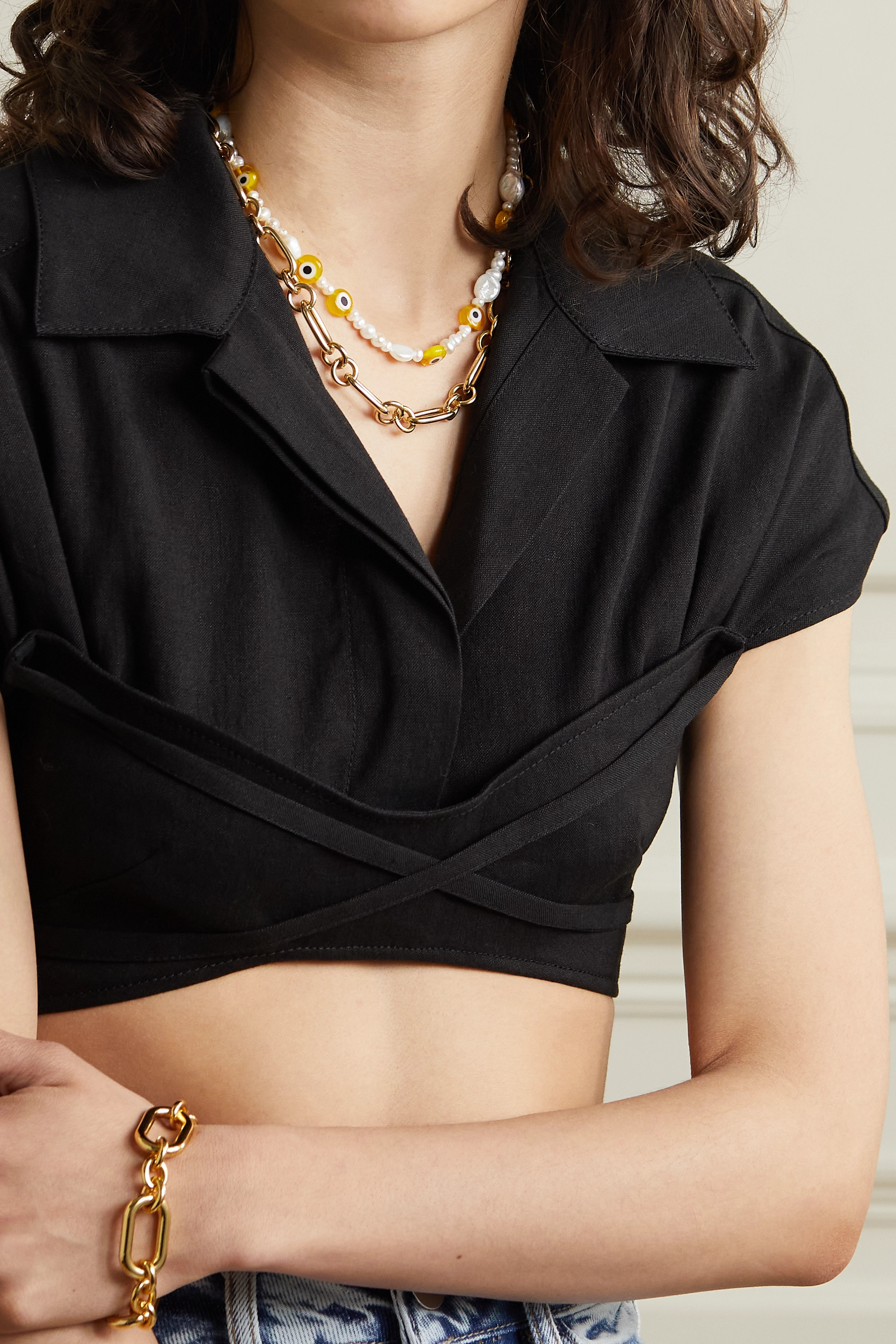 éliou Gold-plated, pearl and bead necklace