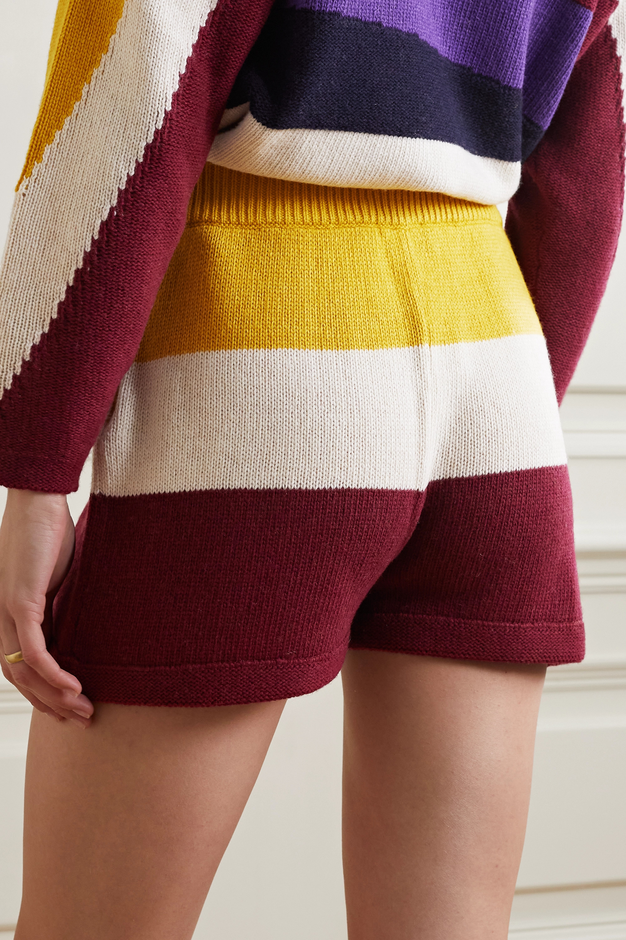 Paradis Perdus + NET SUSTAIN Jasper striped recycled knitted shorts