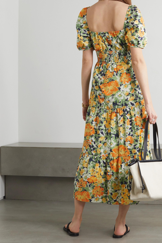 Faithfull The Brand + NET SUSTAIN Rene shirred floral-print cotton-poplin midi dress
