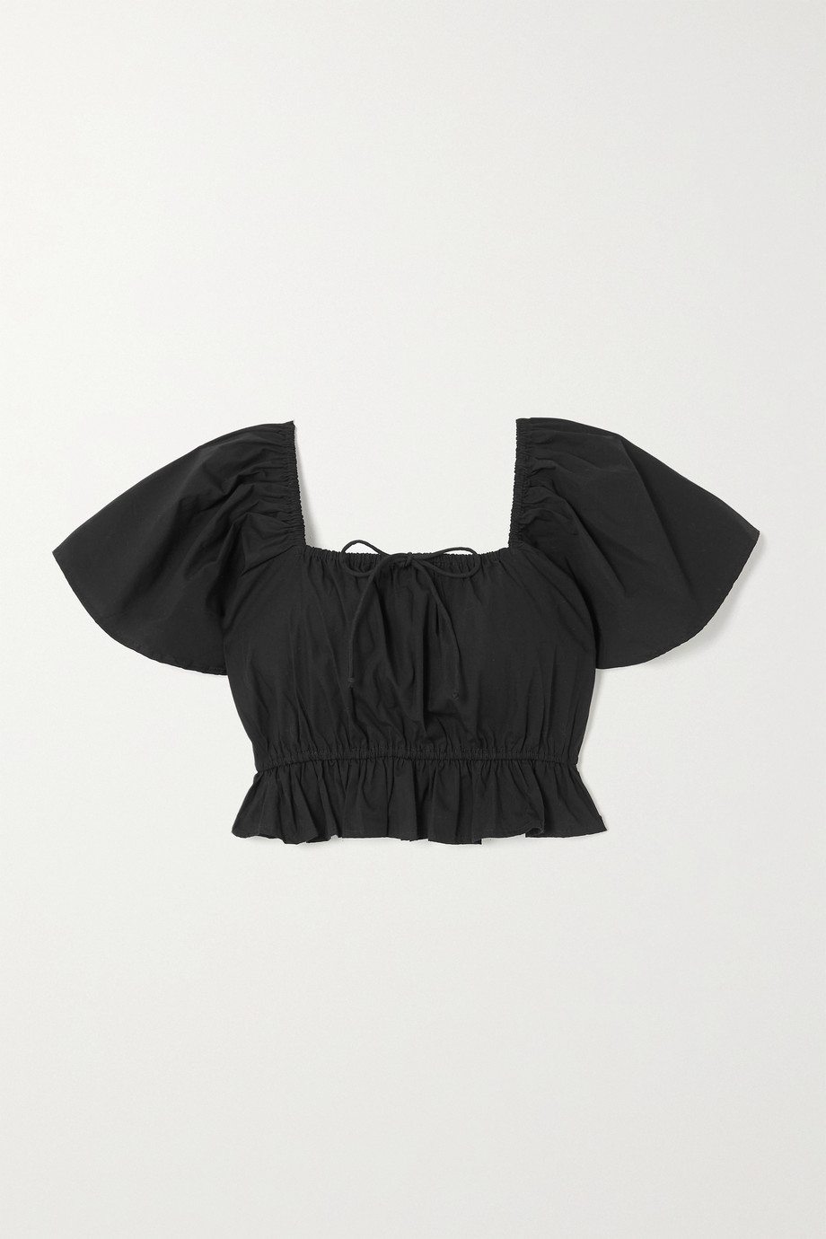 Faithfull The Brand + NET SUSTAIN Joseva cropped shirred cotton-poplin top