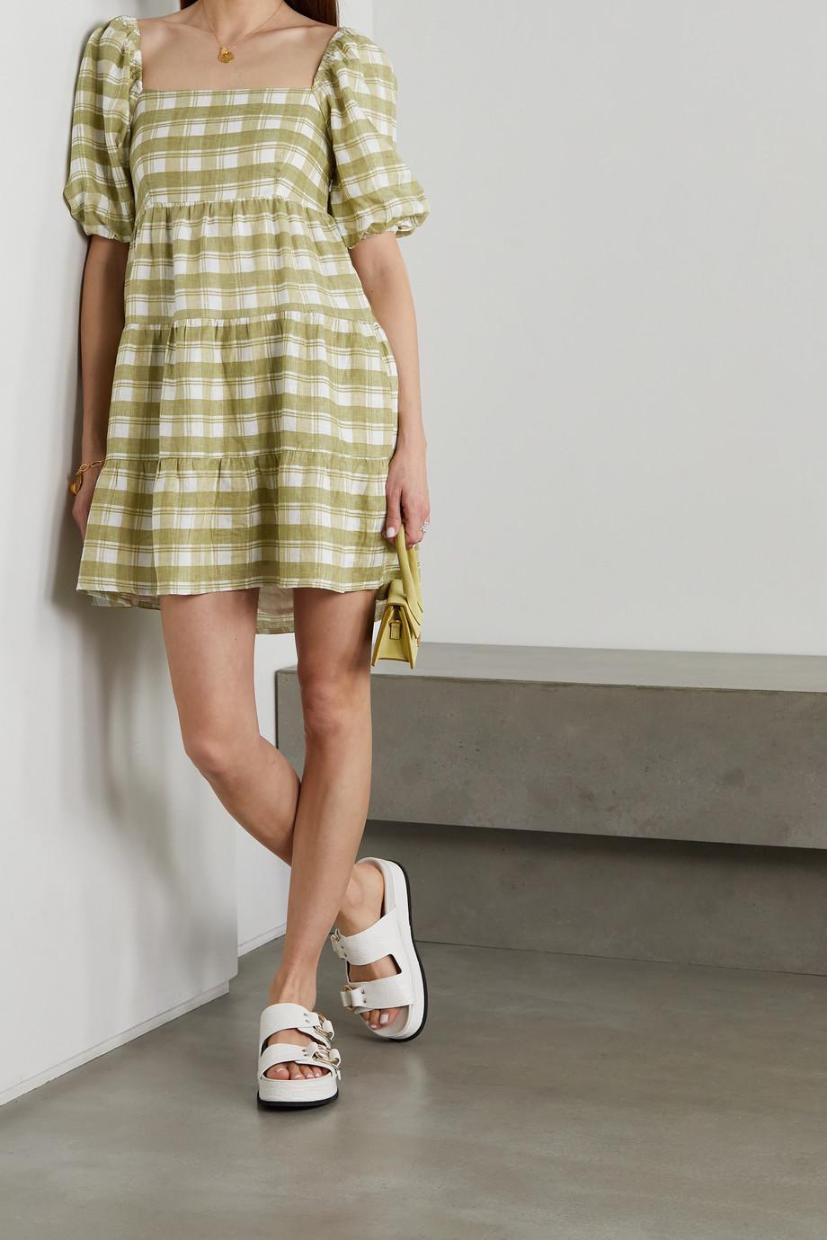 Faithfull The Brand + NET SUSTAIN Leilani shirred checked linen mini dress