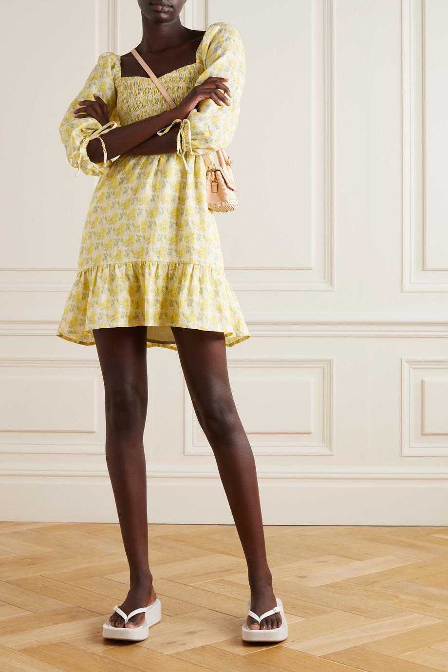 Faithfull The Brand + NET SUSTAIN Romina shirred floral-print linen mini dress