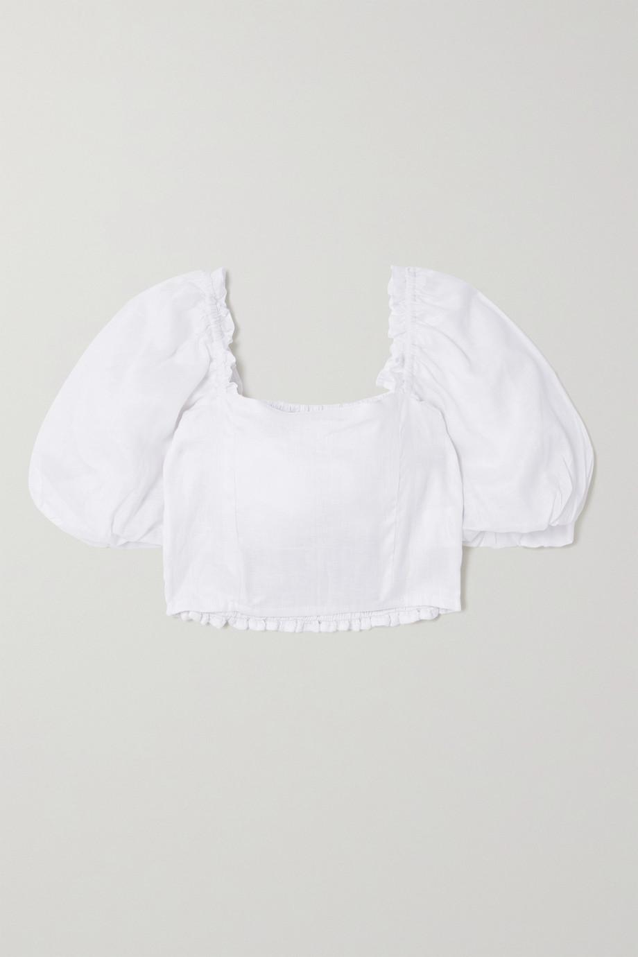 Faithfull The Brand + NET SUSTAIN Barnette cropped shirred linen top