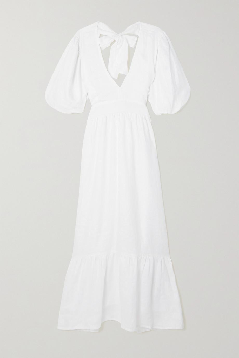 Faithfull The Brand + NET SUSTAIN Romilla tie-detailed tiered linen midi dress