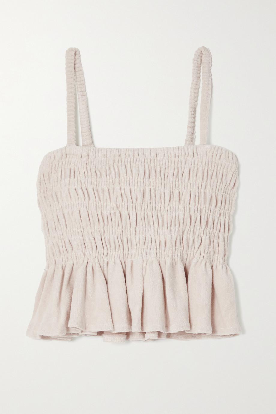Faithfull The Brand + NET SUSTAIN Damita cropped shirred cotton-terry top