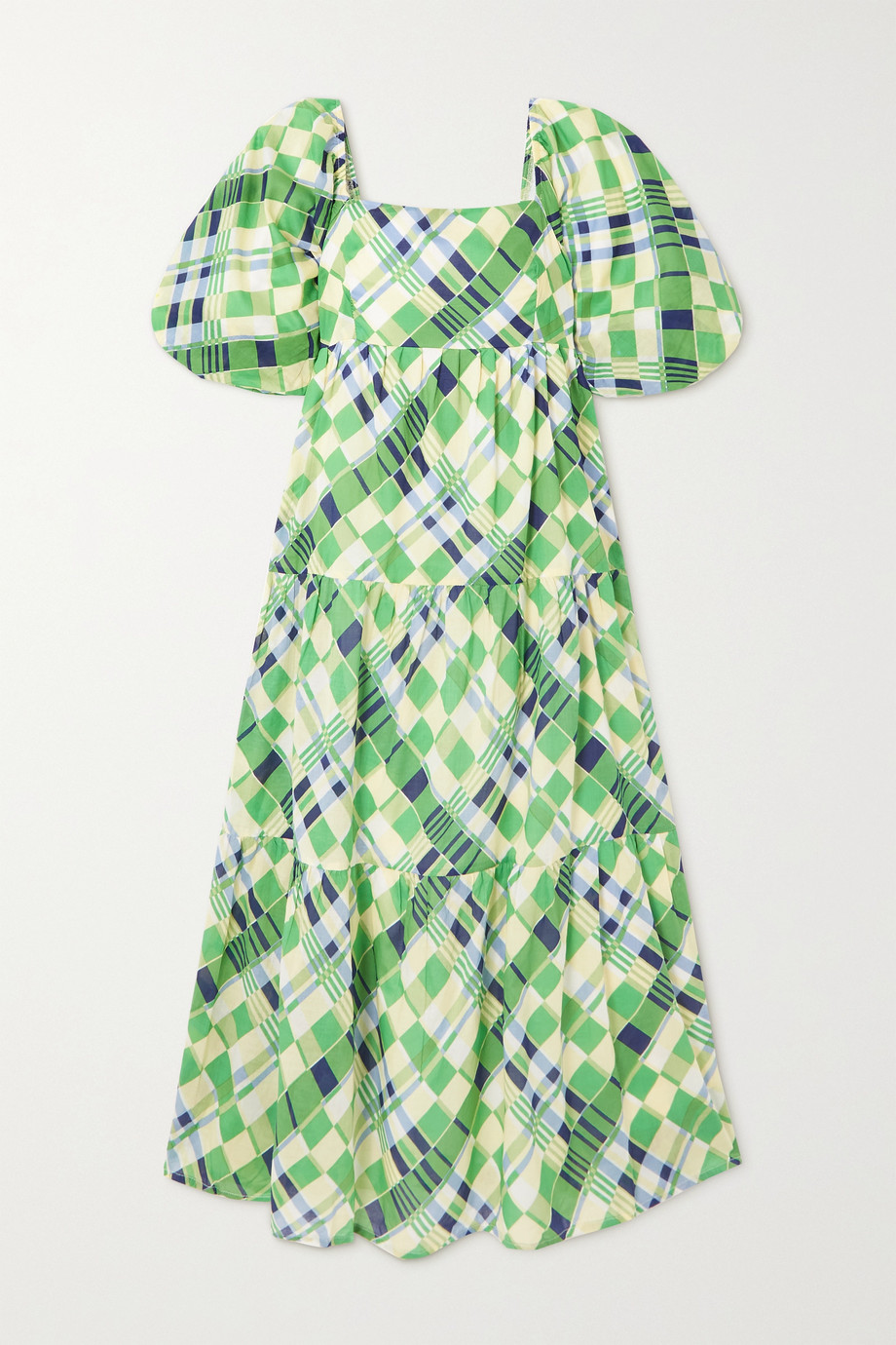 Faithfull The Brand + NET SUSTAIN Falabelle tiered checked cotton-poplin midi dress