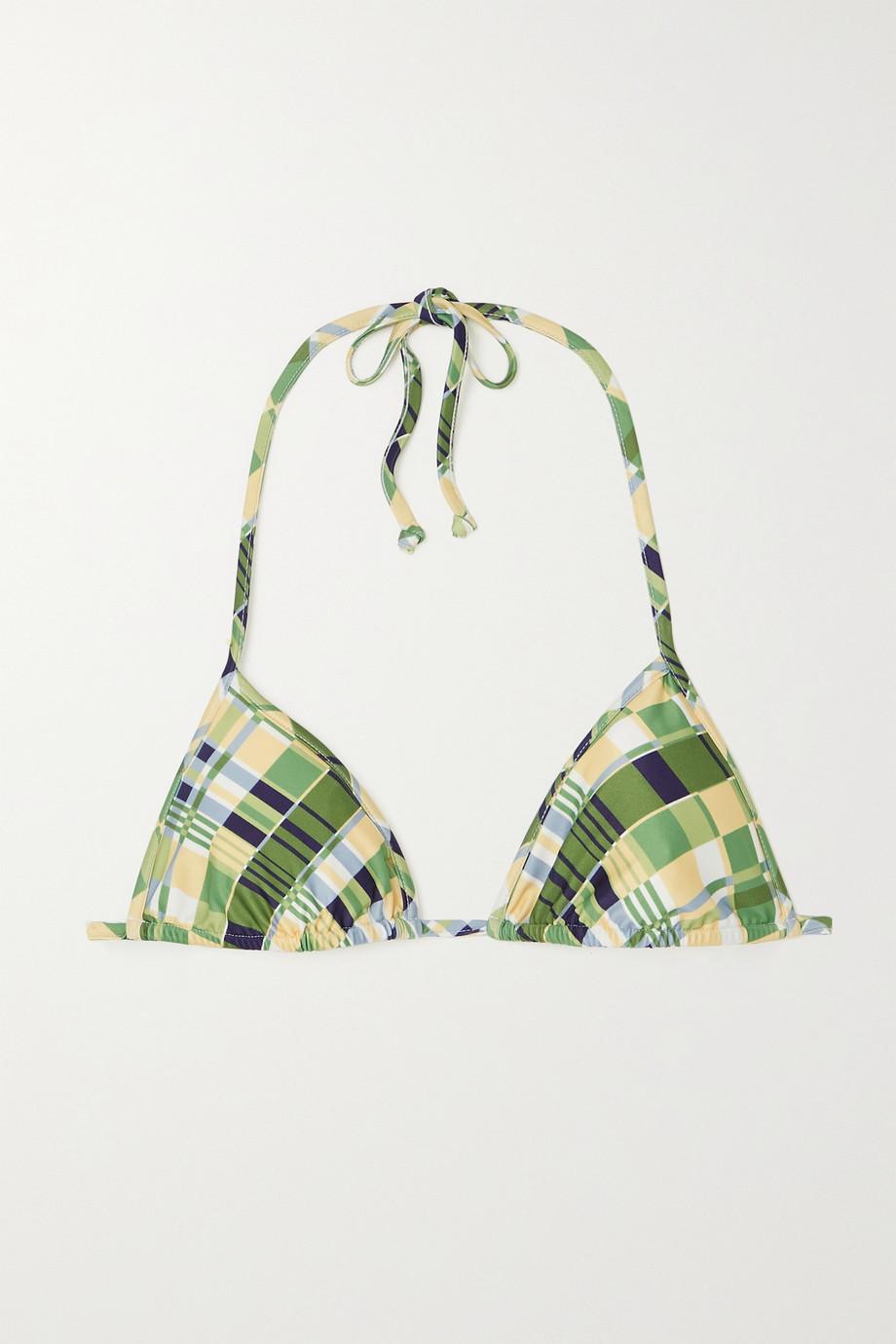 Faithfull The Brand + NET SUSTAIN Jacqueline checked recycled triangle bikini top