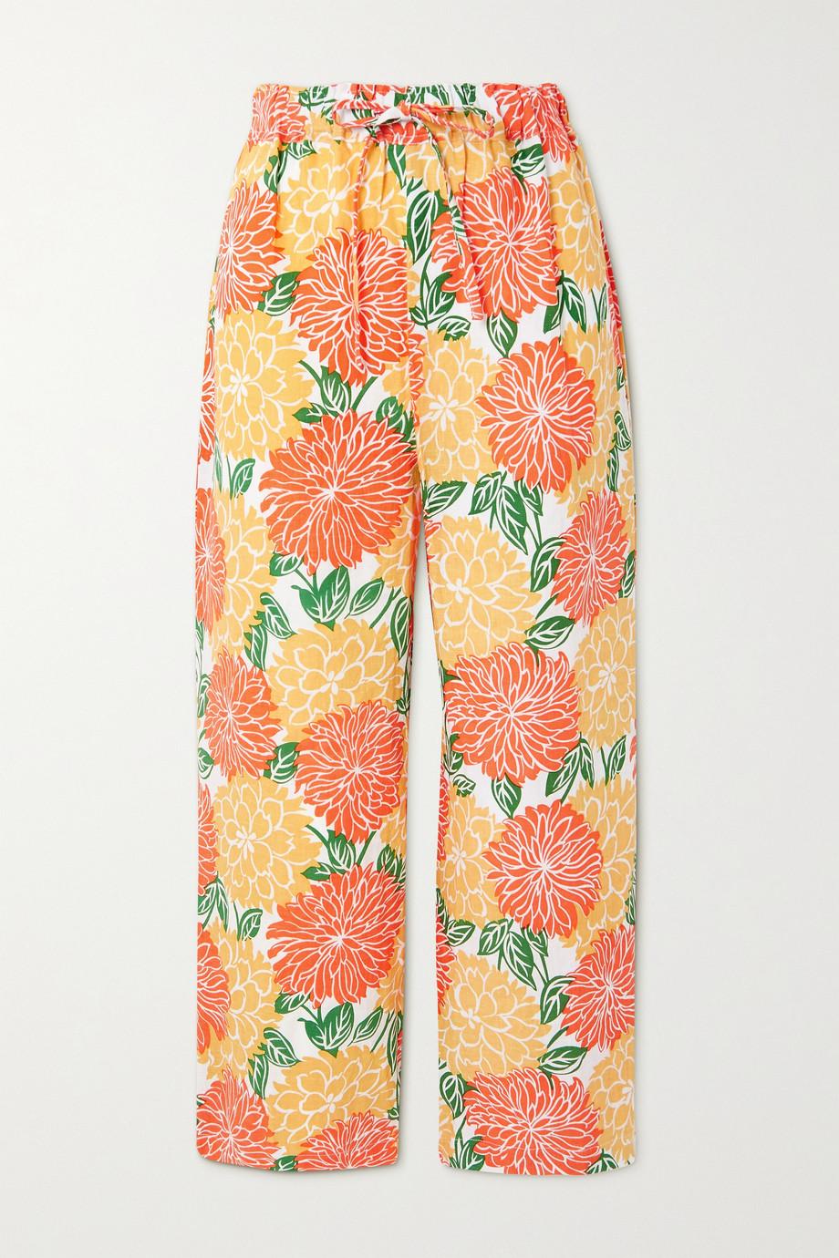 Faithfull The Brand Pantalon large en lin à imprimé fleuri Brielle - NET SUSTAIN