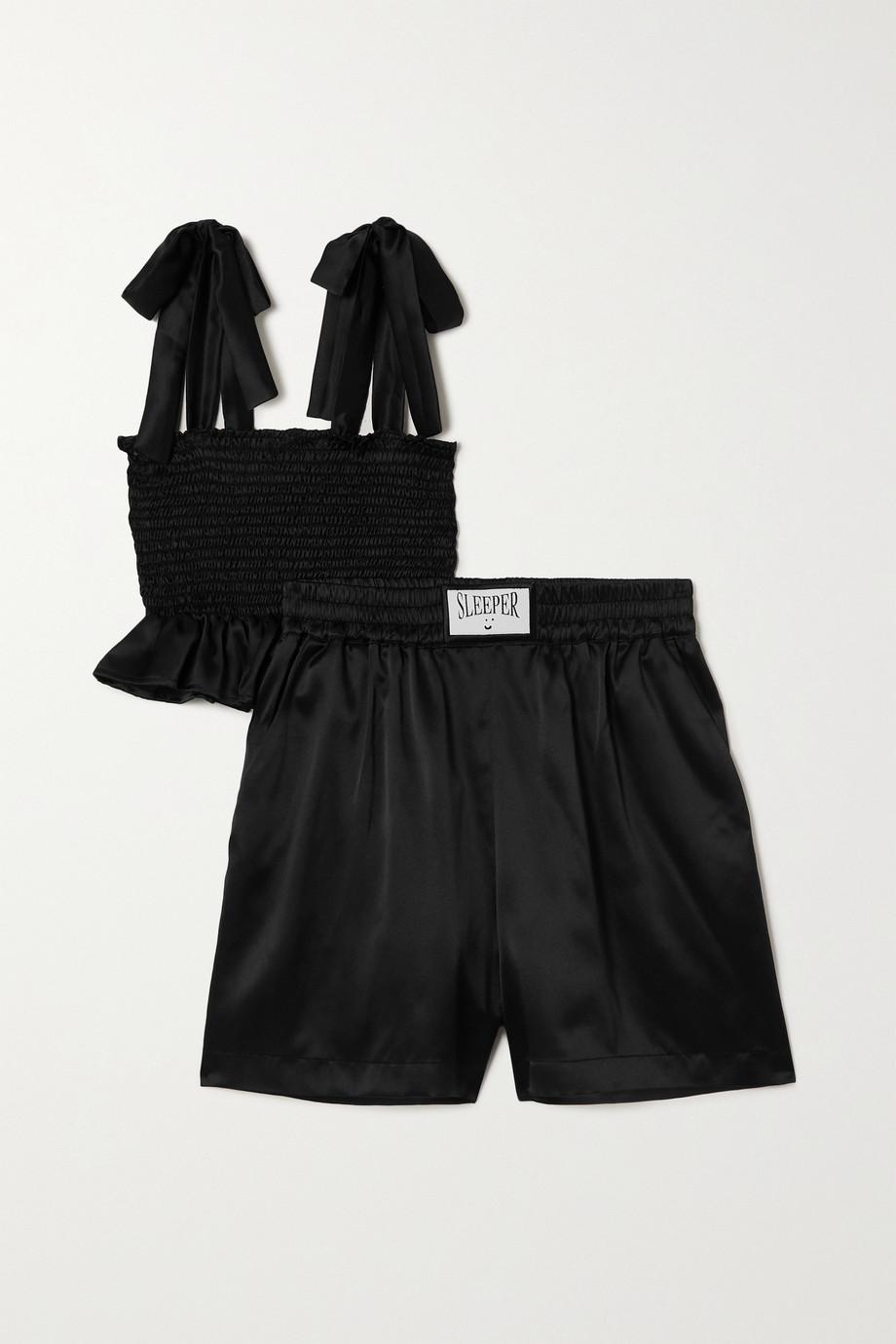Sleeper Tender Fighter Pyjama aus Seidensatin mit Raffungen und Rüschen