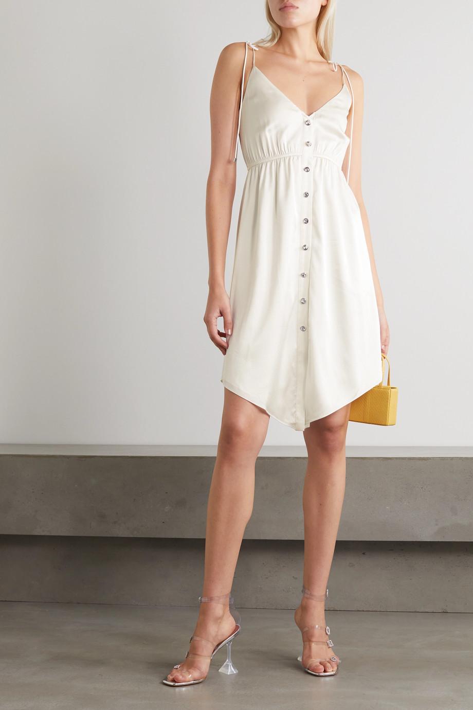 Retrofête Mini-robe en satin de soie stretch à fronces et à ornements Diane