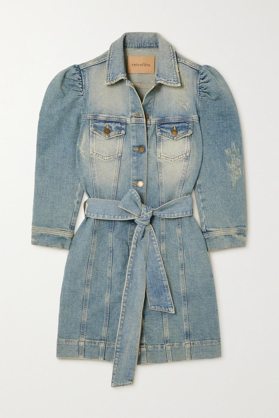 Retrofête Lema Mini-Hemdblusenkleid aus Denim mit Distressed-Details und Bindegürtel