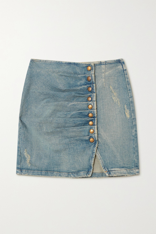Retrofête - Willa ruched distressed denim mini skirt