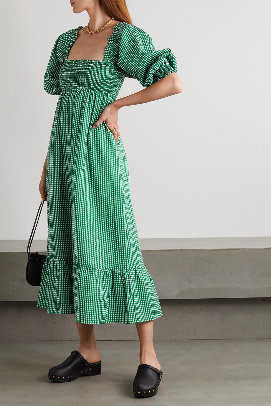 Faithfull The Brand + NET SUSTAIN Sigrid shirred gingham linen midi dress