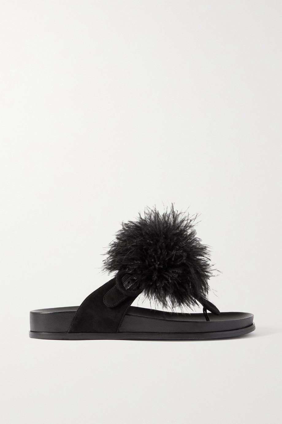 Aquazzura Boudoir Footbed feather-trimmed suede sandals