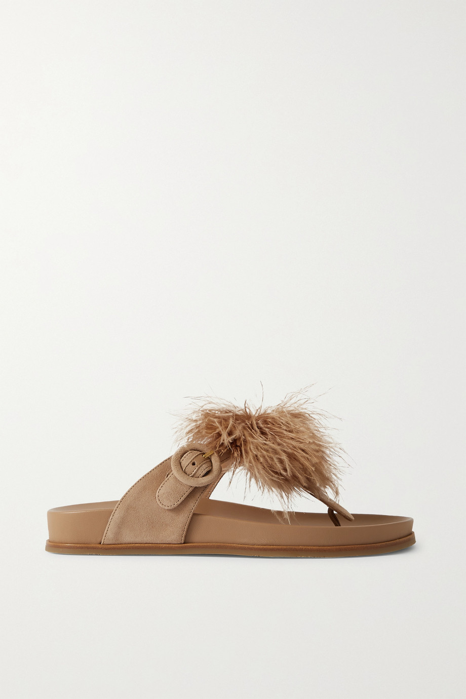 Aquazzura Boudoir Footbed feather-trimmed suede slides