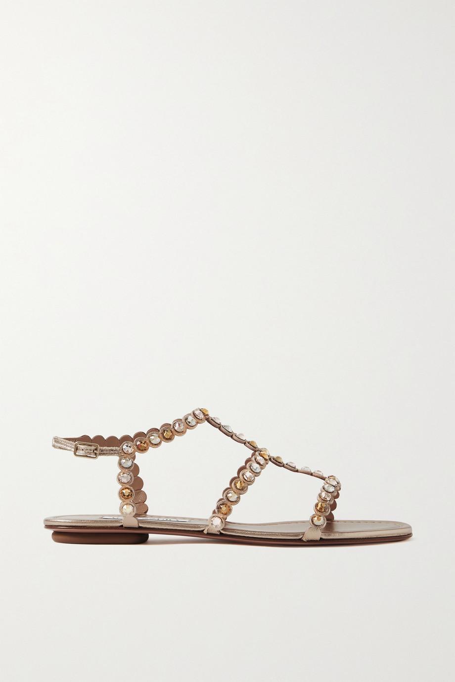 Aquazzura Tequila crystal-embellished metallic leather sandals