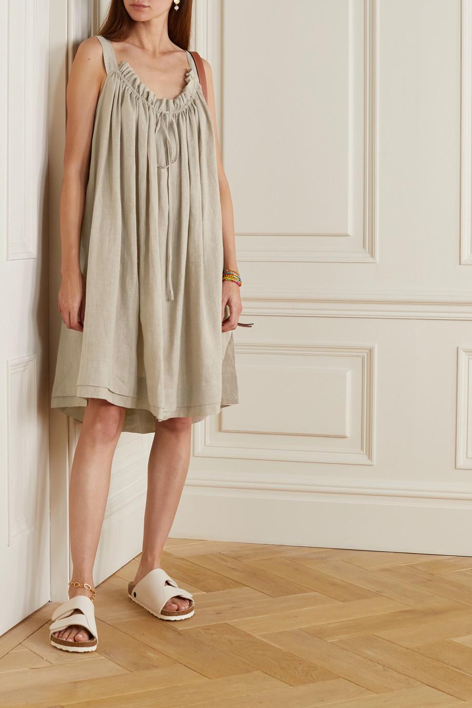&Daughter Bella gathered linen dress