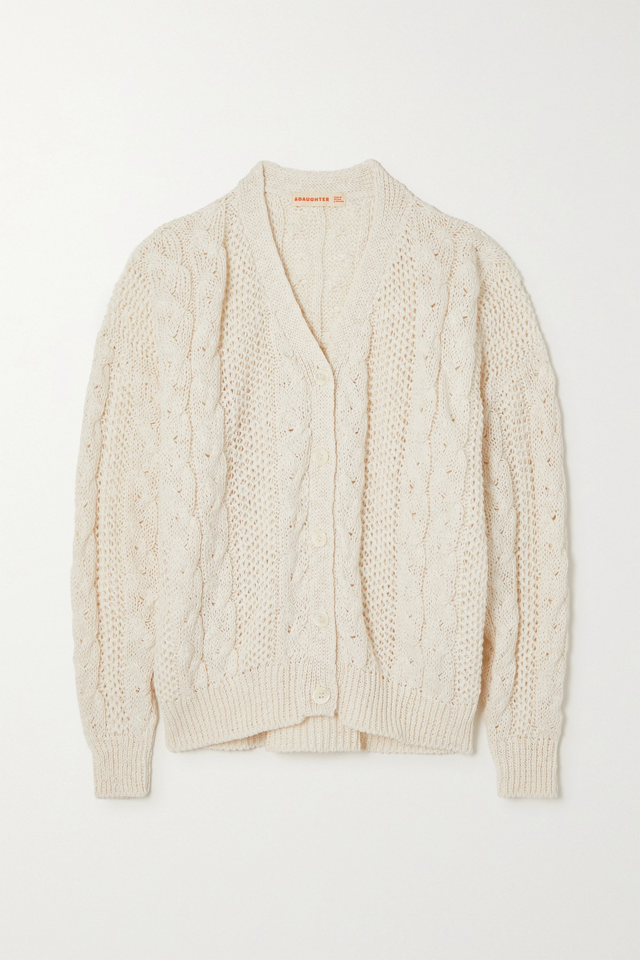 &Daughter + NET SUSTAIN cable-knit linen and cotton-blend cardigan
