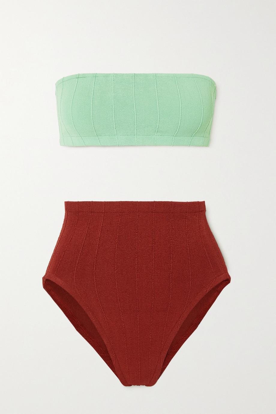 Hunza G + NET SUSTAIN Duo Edie Nile two-tone ribbed bikini