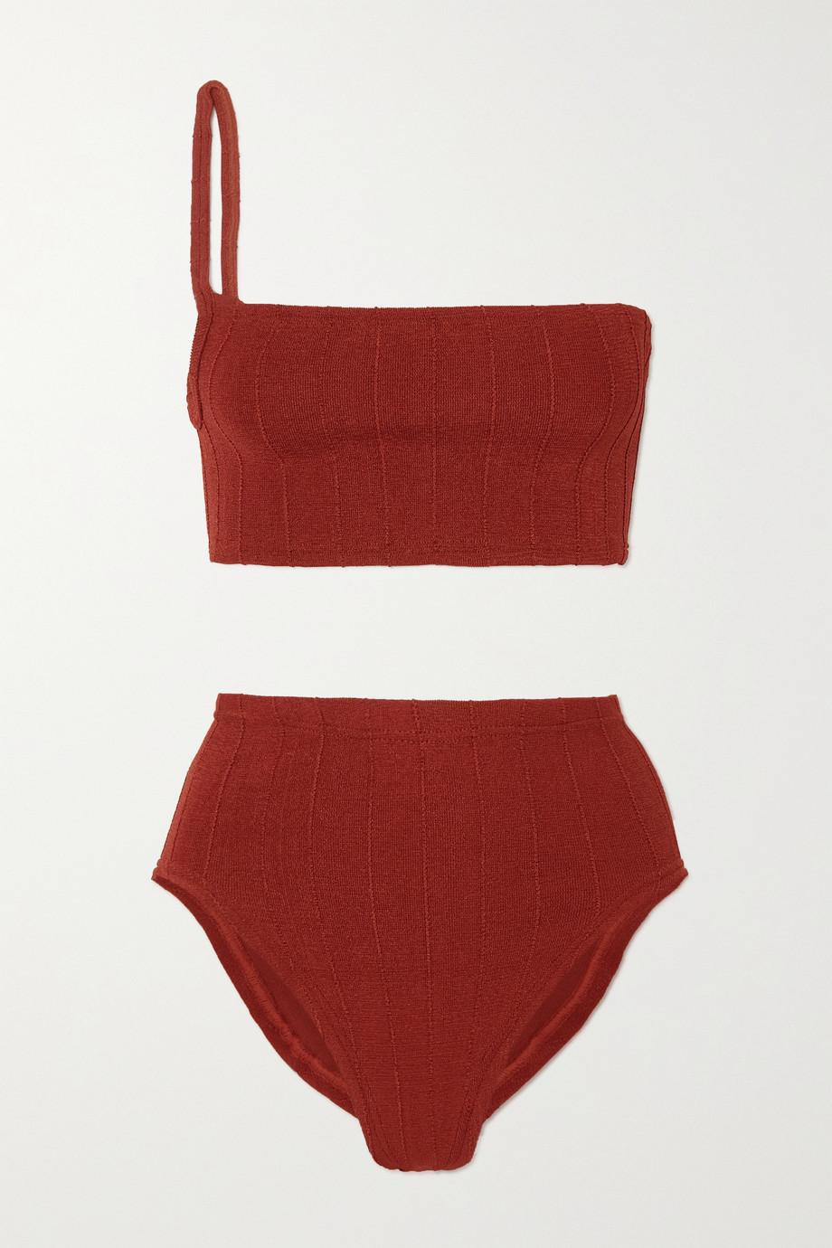 Hunza G + NET SUSTAIN Maxine Nile gerippter Bikini mit asymmetrischer Schulterpartie
