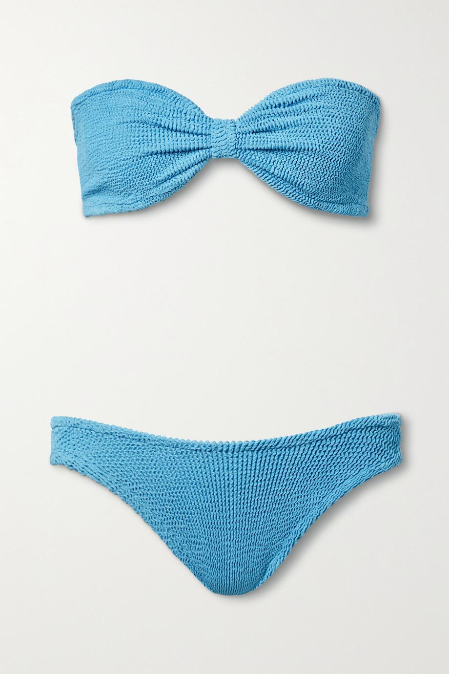 Hunza G + NET SUSTAIN Jean seersucker bandeau bikini
