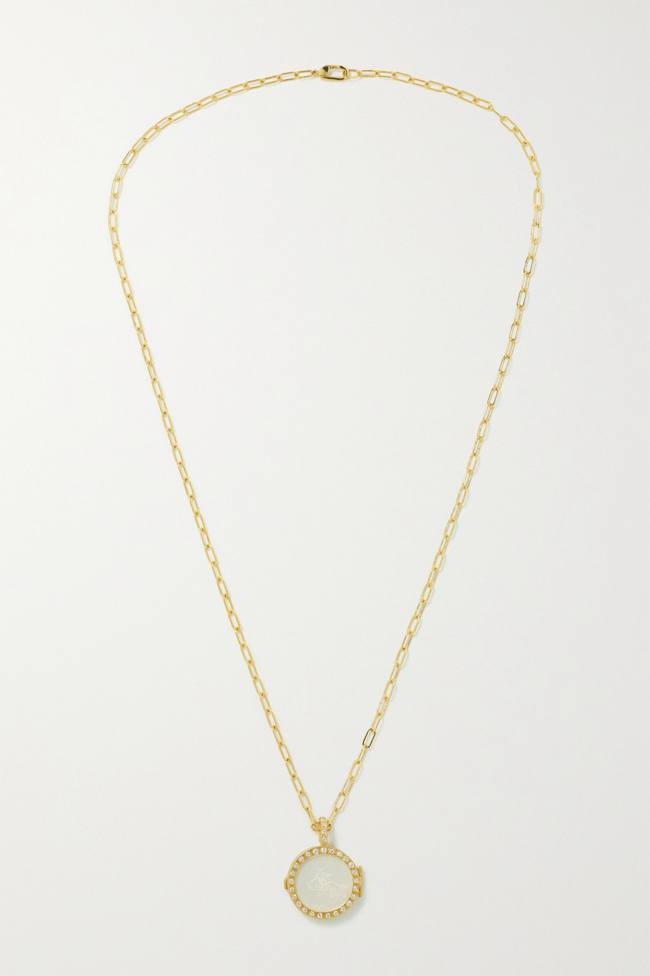 Octavia Elizabeth + NET SUSTAIN The Lover Locket 18-karat recycled gold, mother-of-pearl and diamond necklace