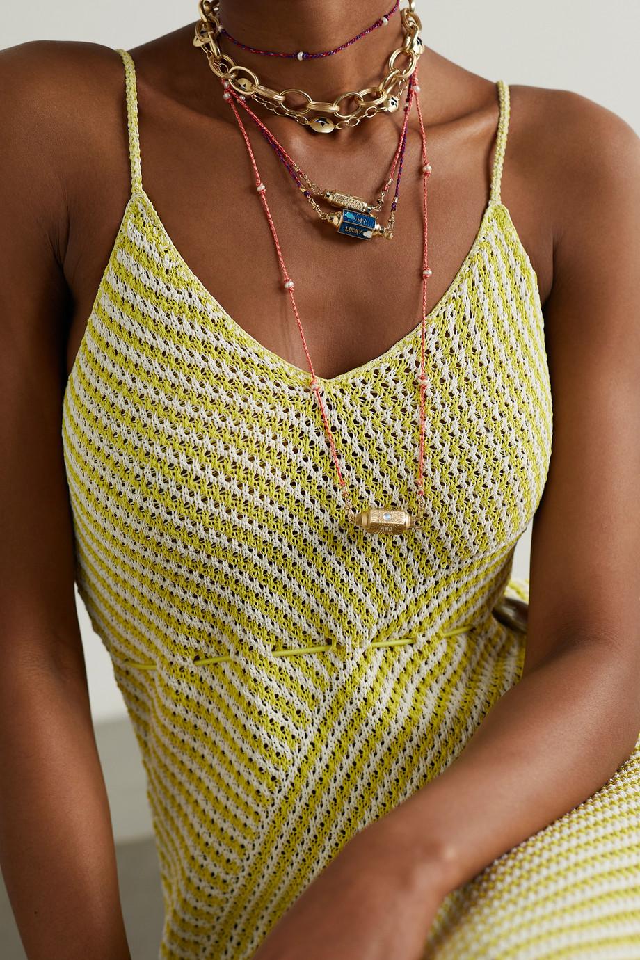Marie Lichtenberg Lucky Star Clouds Kette mit Details aus 14 Karat Gold, Emaille, Perlen und Diamanten
