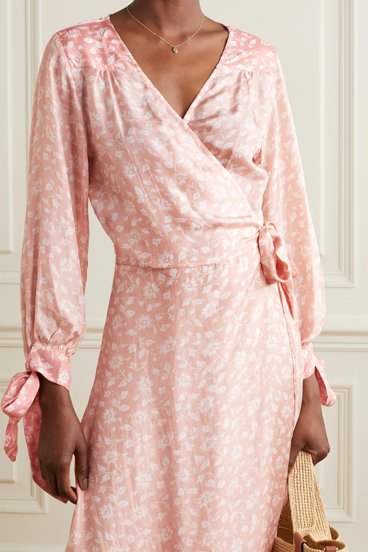 Hannah Artwear + NET SUSTAIN Luna Maxi-Wickelkleid aus Habutai-Seide mit Blumenprint