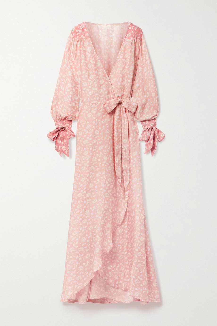 Hannah Artwear + NET SUSTAIN Luna floral-print silk-habotai wrap maxi dress