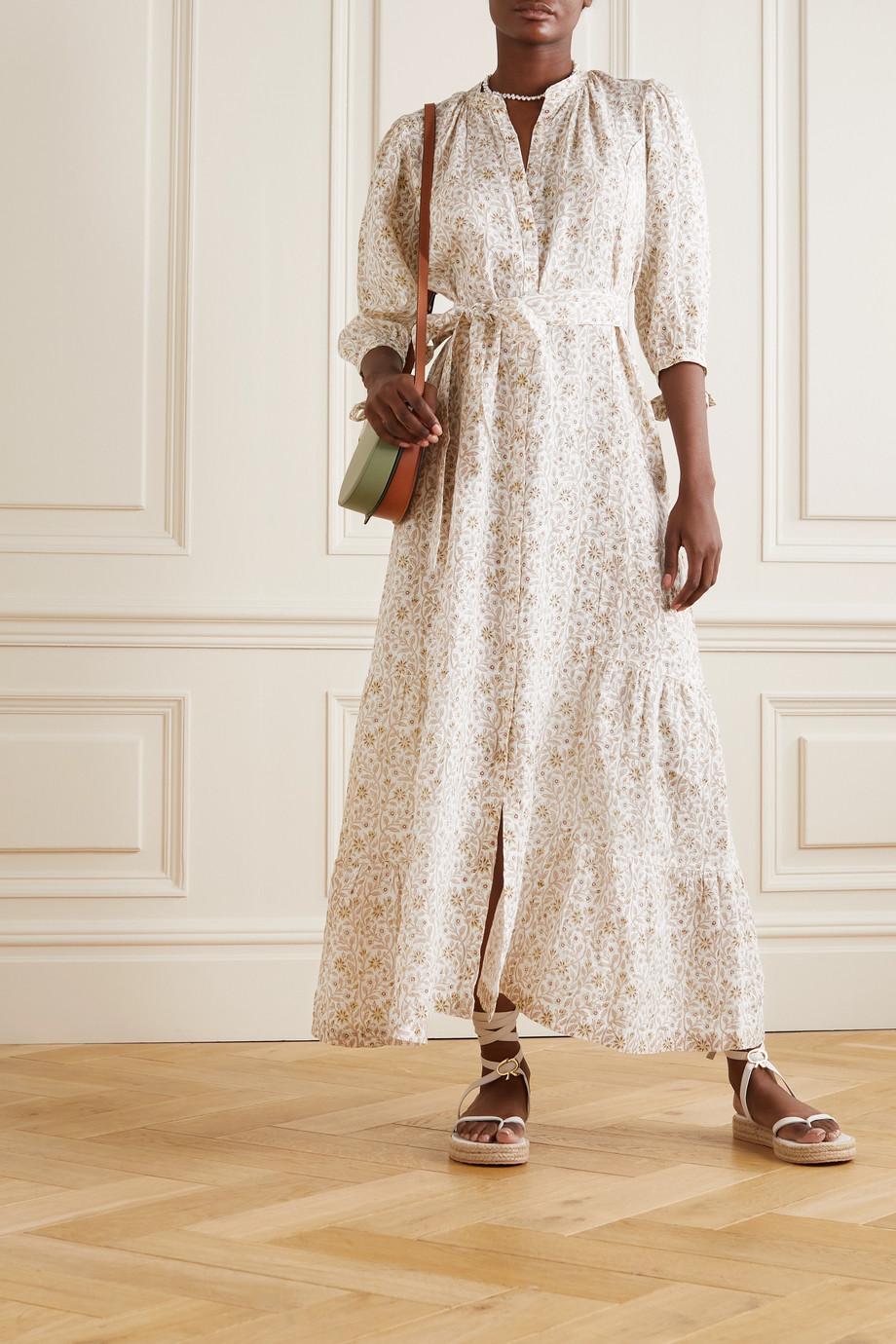 Hannah Artwear Robe longue en lin à imprimé fleuri et à ceinture Camellia - NET SUSTAIN