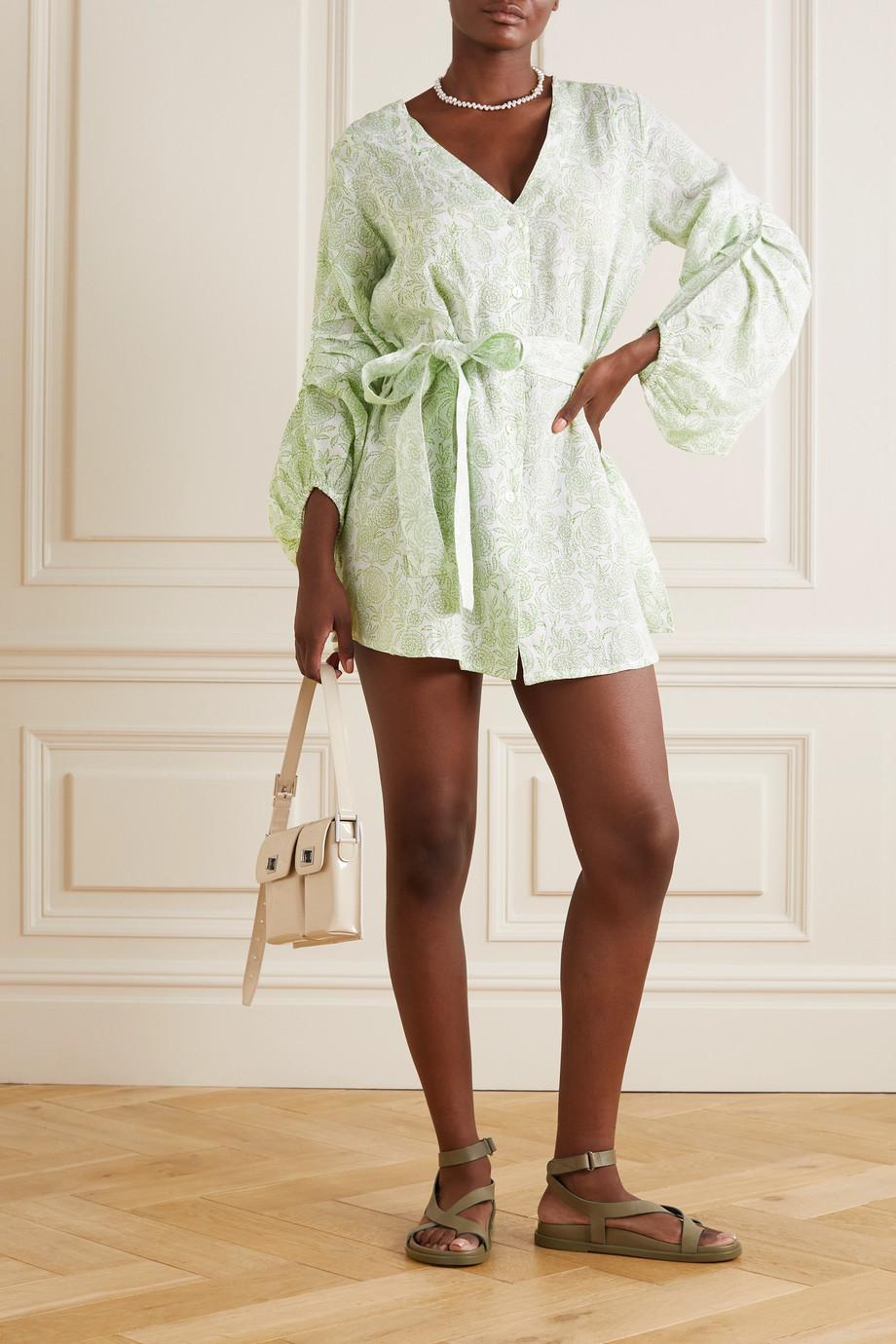 Hannah Artwear + NET SUSTAIN Ischia Minikleid aus Leinen mit Blumenprint und Bindegürtel